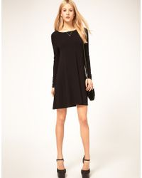 ASOS Collection - Black Asos Swing Dress with Long Sleeves - Lyst