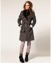 ASOS Collection Green Asos Petite Brushed Fur Lapel Trench Coat