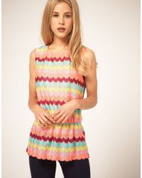 ASOS Collection - Multicolor Bright Zig Zag Print Top - Lyst