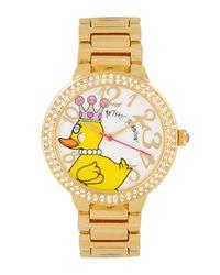 Betsey Johnson | Metallic Bling Bling Time Duck Dial Bracelet Watch | Lyst