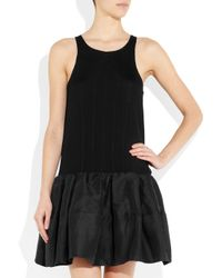 Camilla & Marc Black Countable Crepe and Linen-blend Dress
