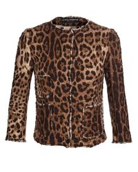 Dolce & Gabbana Multicolor Leopard-print Tweed Jacket