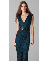 Doo. Ri | Blue Long V Neck Dress with Belt | Lyst
