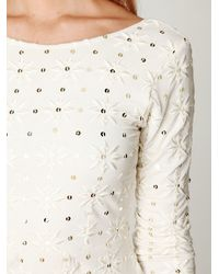 Free People - White Long Sleeve Embellished Party Dress - Lyst
