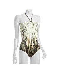 Gucci | Green Ivory Saddlery Print Halter Swim Suit | Lyst