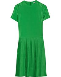 Jil Sander | Green Lumen Pleated Crepe Dress | Lyst