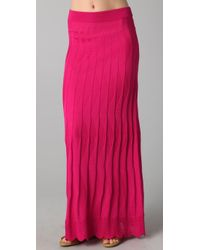 M Missoni | Pink Solid Wave Maxi Skirt | Lyst