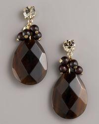 MILLY - Brown Beaded Teardrop Earrings - Lyst