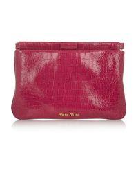Miu Miu Pink Croc Print Leather Clutch