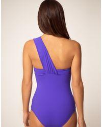Mouille' - Purple One Shoulder Wrap One Piece Swimsuit - Lyst