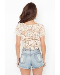 Nasty Gal - Natural Penny Lane Crop Top - Lyst