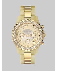 Michael Kors | Metallic Horn-look Link Bracelet Chronograph Watch | Lyst