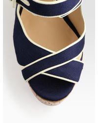 Christian Louboutin Blue Melides Linen & Cork Wedge Sandals