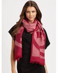 Tory Burch | Pink Reva Wool Scarf | Lyst