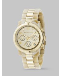 Michael Kors - Metallic Stainless Steel & Horn Acrylic Chronograph Watch - Lyst