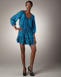 Rebecca Taylor | Blue Python-print Ruffle Dress | Lyst