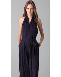 Robert Rodriguez - Purple Pleated Halter Jumpsuit - Lyst