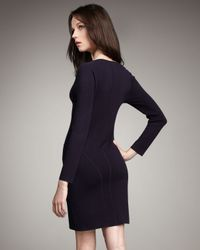 Theory - Purple Long-sleeve Fitted Dress - Lyst