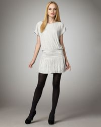 Theory - White Crinkled Chiffon Party Dress - Lyst