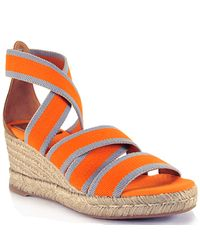 Tory Burch | Orange Canvas Espadrille Wedge Sandal | Lyst