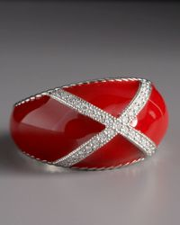 Zasha - Metallic Diamond Enamel Ring, Red - Lyst
