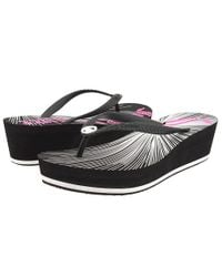 Juicy Couture | Black Cara Wedge Flip Flops | Lyst