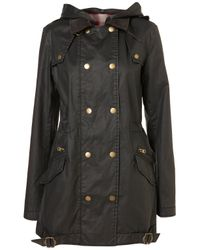 TOPSHOP Black Wax Double Breasted Jacket