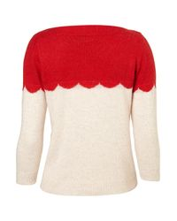 TOPSHOP Natural Knitted Scallop Block Top