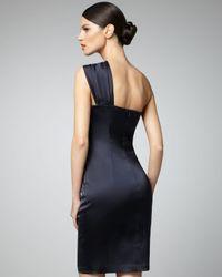 David Meister - Black Side-beaded One-shoulder Cocktail Dress - Lyst
