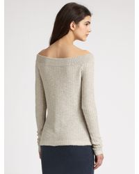 James Perse - Metallic Marled Off-the-shoulder Sweater - Lyst