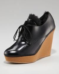 3.1 Phillip Lim | Black Beau Wedge Fur Lined Shoe | Lyst