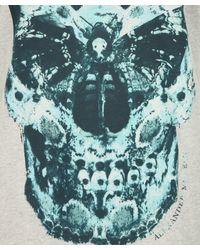 Alexander McQueen White Turquoise Moth Print Skull T-shirt for men