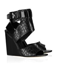 Alexander Wang | Black Natalia Embossed-leather Wedge Sandals | Lyst
