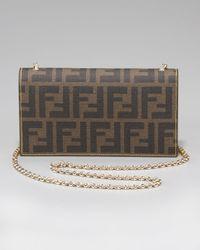 Fendi Brown Zucca Shoulder Wallet