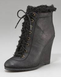 Juicy Couture Black Candid Faux-shearling Wedge Boot