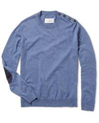 Maison Margiela | Blue Crew Neck Elbow Patch Sweater for Men | Lyst