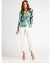 Etro | Blue Wrap-Front Silk Top | Lyst