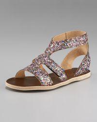Pedro Garcia | Metallic Glitter Flat Sandal | Lyst