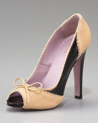 RED Valentino | Black Two-tone Peep-toe Pump | Lyst