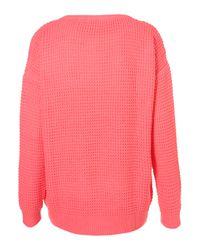 TOPSHOP Pink Knitted Textured Stitch Jumper