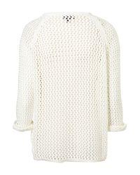 TOPSHOP | White Knitted Wetlook Stitch Jumper | Lyst