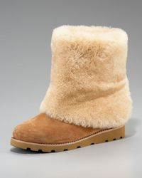 UGG | Brown Chestnut Maylin Shearling Cuffed Ankle Boot | Lyst