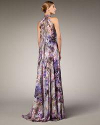Badgley Mischka | Purple Halter-neck Printed Gown | Lyst