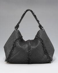 Bottega Veneta | Black Fringe-detailed Woven Hobo | Lyst