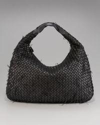 Bottega Veneta | Black Frayed Woven Veneta Hobo, Large | Lyst