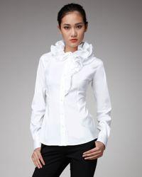 Dolce & Gabbana | White Ruffle-collar Blouse | Lyst