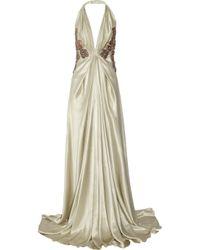 Emanuel Ungaro | Green Embellished Silk-satin Gown | Lyst
