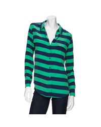 Equipment Green Exclusive Slim Signature Striped Blouse