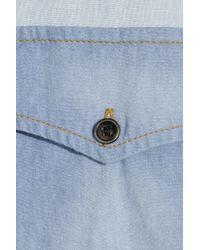 Étoile Isabel Marant Blue Guan Patchwork Denim and Plaid Shirt