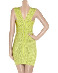 Hervé Léger | Green Jacquard Bandage Dress | Lyst